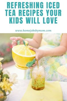 Refreshing Iced Tea Recipes Your Kids Will Love | Home Jobs by MOM Frozen Drink Recipes, Iced Tea Recipes, Herb Recipes, Sangria Recipes, Margarita Recipes, Yummy Recipes, Fruit Ice, Eat Fruit, Oatmeal Biscuits