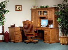 The Classic Office L Shaped Desk Is Shown In Oak With Optional Hutch Top.