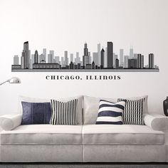 Chicago Skyline Silhouette Wall Decal Custom Vinyl Art Stickers - Custom vinyl stickers chicago