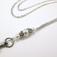 Women's Fashion Lanyard for ID Badge or Keys- Functional Necklace features White Swarovski Pearls separated by Silver filigree bead caps and a Silver Textured Chain