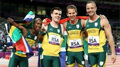(L-R) Samkelo Radebe, Zivan Smith, Arnu Fourie and Oscar Pistorius of South Africa celebrate winning gold in the men's relay Final on Day 7 of the London 2012 Paralympic Games at the Olympic Stadium. Oscar Pistorius, When You See It, World Records, Sports News, Best Funny Pictures, The Man, Olympics, South Africa, Athlete