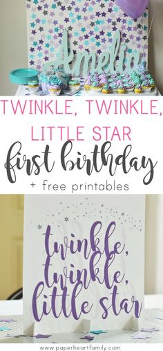 Use the classi Plan a Twinkle, Twinkle, Little Star as the t Plan a Twinkle, Twinkle Little Star first birthday party. Get decoration inspiration.