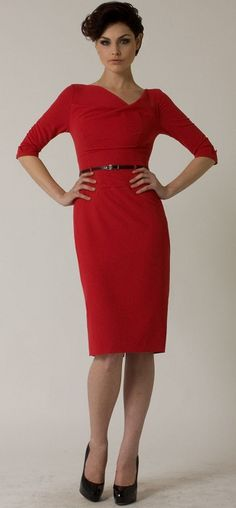 Channel your inner Joan with Black Halo's 3/4 Sleeve Jackie O dress in red.