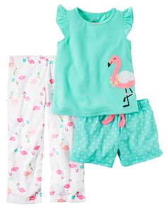 Loose fitting top in green with pink flamingo bird on front, long and shorts bottoms with all over flamingo bird print. Very cute Pjs. Newborn (NB) Up to 5 – Baby Size Chart. Baby Girl Pajamas, Carters Baby Girl, Oakley, Baby Size Chart, Flamingo Shirt, Polka Dot Shorts, Outfit Sets, Pajama Set, Girl Fashion