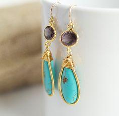 Bezel Set Amethyst and Turquoise Earrings