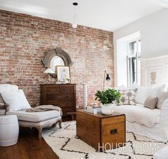 Interior Design – French Country Apartment Decor - Watch Video - Home Decor Brick Interior, Living Room Interior, Living Room Decor, Interior Design, Living Room Brick Wall, Brick Wall Decor, Condo Living, French Interior, Apartment Living