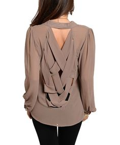 Mocha Sheer Long-Sleeve Button-Up
