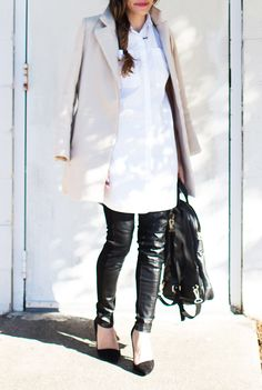 Shirt dress / leather leggings