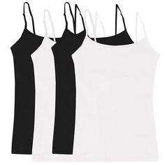 7af5df870a7 Women's & Juniors' Camisole Built-in Shelf Bra Adjustable Spaghetti Straps  Tank Top 2 Pack or 4 Pack