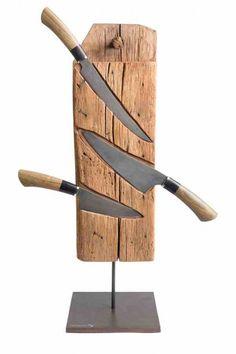 Messerblock mit Messern aus Damaststahl