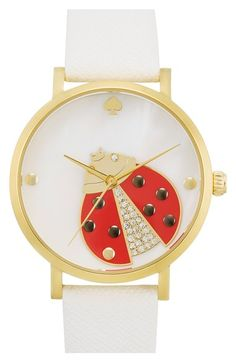 kate+spade+new+york+'metro'+ladybug+dial+leather+strap+watch,+34mm+available+at+#Nordstrom