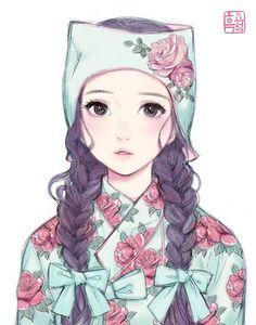 Manga Drawing Patterns Shabby rose patterned Hanbok by theobsidian - Anime Art Girl, Manga Girl, Manga Anime, Anime Girls, Korean Anime, Korean Art, Cartoon Kunst, Cartoon Art, Cute Illustration