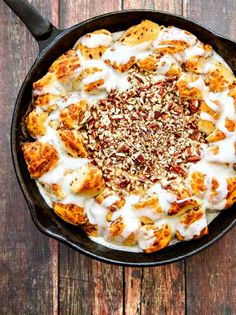 Skillet Cinnamon Rolls with Salted Caramel & Pecan Cream Cheese @FoodBlogs