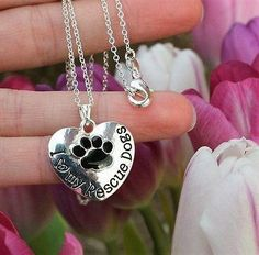 Charm Necklace - .925 Sterling Silver Chain - I Love My Rescue Dogs Pendant - Rescued Puppies Paw Print Heart Gift