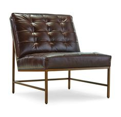 MAJOR CHAIR SATIN BRASS FINISH LEATHER<BR>[available online and in stores]