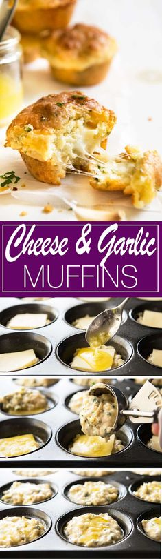 Cheese Muffins Cheese & Garlic Muffins - This is like cheesy BUTTERY garlic bread.in muffin form!Cheese & Garlic Muffins - This is like cheesy BUTTERY garlic bread.in muffin form! Muffins Blueberry, Savory Muffins, Cheese Muffins, Savoury Muffin Recipe, Egg Muffins, Savory Breakfast, Muffin Tin Recipes, Bread Recipes, Cooking Recipes