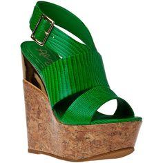 ALICE + OLIVIA Steffie Wedge Sandal Green Snake ($325) ❤ liked on Polyvore