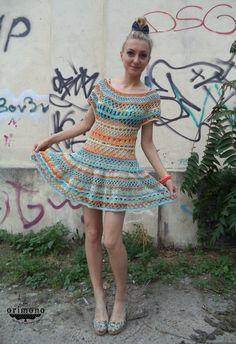 Cute dress, awful background, this is how I roll :D Rainbow crochet dress by O R I M O N O :) http://facebook.com/orimono.reczna.praca.awaryjna