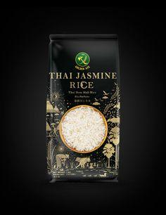 Golden Axe Thai Jasmine Rice on Behance Rice Packaging, Organic Packaging, Food Packaging Design, Coffee Packaging, Packaging Design Inspiration, Brand Packaging, Luxury Packaging, Chocolate Packaging, Bottle Packaging