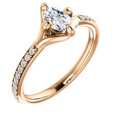 0.50 Ct Oval Diamond Engagement Ring 14k Rose Gold