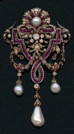 Diamonds, rubies and pearls brooch, 1865 Charles Martial Bernard