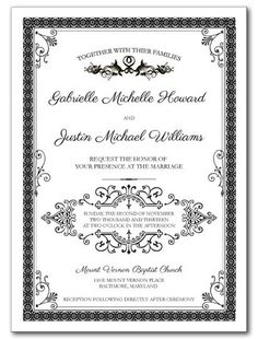 French Label Wedding Invitation