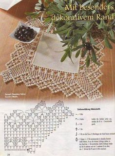 Kira scheme crochet: Scheme crochet no. Crochet Doily Patterns, Crochet Borders, Crochet Motif, Crochet Doilies, Crochet Lace, Crochet Stitches, Filet Crochet, Linens And Lace, Beautiful Crochet