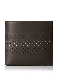 BALLY Men's Vollen Perforated Leather Wallet, Dark Brown