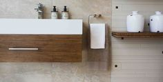 A sleek, shallow rectangular basin combined with a bamboo vanity creates a fresh and clutter-free look Decor, Countertops, Home, Vanity, Home Improvement, Bathroom Basin, Contemporary Living, Guest Bathroom, Beautiful Bathrooms