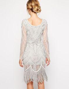ICE GREY CHARLESTON FLAPPER GATSBY dress 1920 TASSEL FRINGE frock & frill