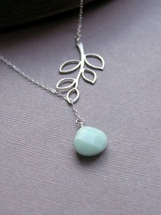 Silver Laurel Leaf Necklace with Amazonite Stone by LRoseDesigns, $38.00