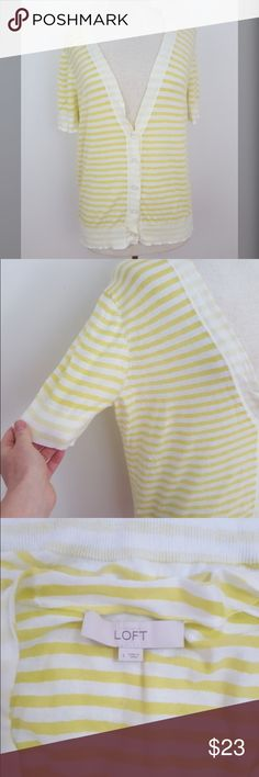 "LOFT Short Sleeve Striped Cardigan 100% Cotton Yellow is such a darling color ! Brighten up your fall outfit with this Loft short sleeve cardigan ! Very soft, 100% cotton.  Size large Armpit to armpit 20"" Length 25""  #loft #cardigan #shortsleeve #shortsleevecardigan #yellow #stripes #100percentcotton #sizelarge #rachelboncek LOFT Sweaters Cardigans"