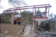 Stylish Barn Remodel Resulting Brand New Modern House: Brilliant Plan For The Loughloughan Barn Architecture With Metal Pillars And Stone Wa. Stone Barns, Stone Houses, Nachhaltiges Design, House Design, Interior Design, Barn Renovation, Cozy House, Contemporary Style, Architecture Design