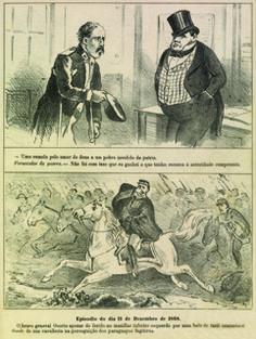Charge retratando a miséria dos que voltavam da guerra contrapondo-se àqueles que com ela lucraram. A Semana Ilustrada. Rio de Janeiro, 1869.