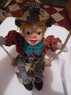 Clown Doll on swing, Porcelain face? cloth body, Hanging, EXCDCollectible | Collectibles, Decorative Collectibles, Figurines | eBay!