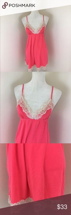 Victoria's Secret Babydoll Night Dress Adorable baby doll lace lingerie night dress in bright pink. Beautiful soft stretchy material. Lightly used condition. V neck and opinion to add padding to the bust, doesn't have padding in it currently. Victoria's Secret Intimates & Sleepwear Chemises & Slips