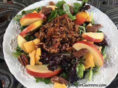 Jen's Smoked BBQ Pulled Pork Salad. JenniferGuerrero.com Smoked Pulled Pork, Pulled Pork Recipes, Rub Recipes, Healthy Recipes, Pork Salad, Smoke Bbq, Spice Tins, Smoking Meat, Apple Crisp