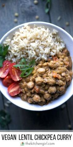 Thai lentil and chickpea curry with tomatoes curry paste and coconut milk. Includes Instant Pot stove & Crockpot instructions Thai lentil and chickpea curry with tomatoes curry paste and coconut milk. Vegan Dinners, Healthy Dinner Recipes, Vegetarian Recipes, Healthy Meals, Vegan Soups, Vegetarian Soup, Paleo Vegan, Healthy Cooking, Healthy Food