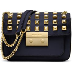 MICHAEL Michael Kors Small Sloan Studded Shoulder Bag (1.890 VEF) ❤ liked on Polyvore featuring bags, handbags, shoulder bags, saffiano leather handbag, navy blue purse, chain strap purse, blue shoulder bag and studded handbags