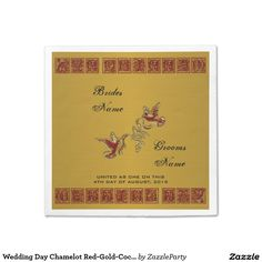 Wedding Day Chamelot Red-Gold-Paper Cocktail Napkins #zazzle #party #napkins #wedding #gold #red  http://www.zazzle.com/zazzleparty?rf=238170457442240176