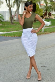 Date Night Out fit #WomensFashion #MidiSkirt #CutOutFittedTop  WHITE RUCHED MIDI SKIRT