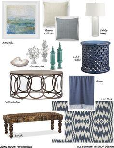 League City, TX Online Design Project Living Room Furnishings Concept Board www.JSInteriorDes.Blogspot.com