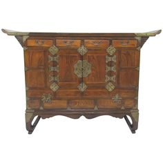 Antique Korean Bandaji Head Side Blanket Chest, circa 1870 | From a unique collection of antique and modern antiquities at https://www.1stdibs.com/furniture/asian-art-furniture/antiquities/