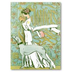 art nouveau greyhound and lady print