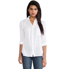 THEORY white button down long sleeve blouse Size Small, white, button down blouse Theory Tops Button Down Shirts
