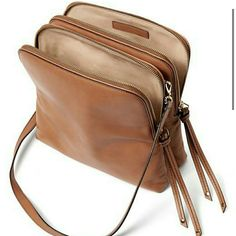 Chic Simple Brown Double Pouch Purse Bag Leather