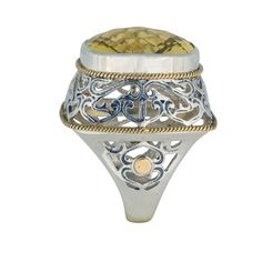 Coronation Day (CD002) Glow with this modern and elegant artisan 925 silver ring carefully set with yellow topaz stones and luscious 18k gold finishing. Wide band.