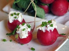 Afternoon Snack: Radishes with Cream Cheese and Chives (could also use laughing cow cheese wedges)
