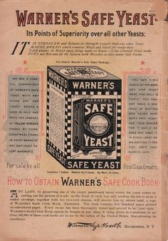 Warner's Safe Cure Almanac 1892 (back cover) - H.H. Warner & Co., Rochester, NY, USA (and several other locations around the world)