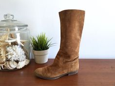 Brown Suede Slouch Flat Boots Size 6 / Bohemian Soft Genuine Suede Leather Tall Cognac Boots / Boho Hippie Brown Boots Size 6  This is a vintage
